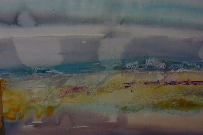 Warm Sea in Autumn Watercolour and pastel     £420
